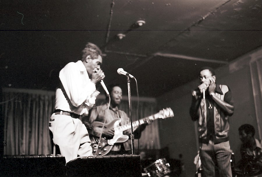 Big Walter Horton, Eddie Taylor and Carey Bell probably at Big Duke's Flamingo Club - By Hasse Andreasson