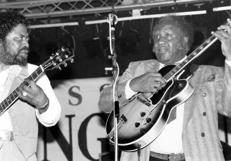 Son Seals and Fenton Robinson at Ecaussines Festival, France, in 1992 - By Andre Hobus